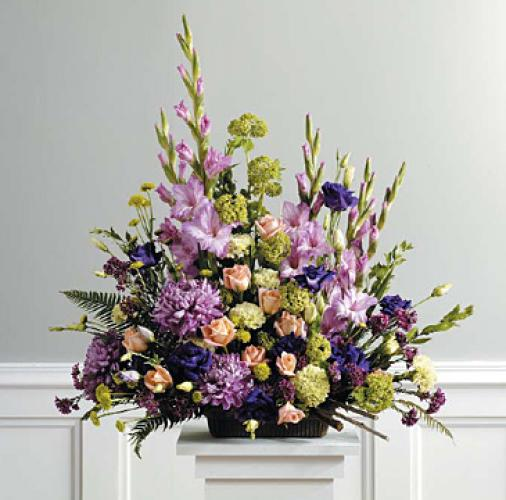 Purple, Peach and Green Traditional Arrangement [SF039-21] Purpl