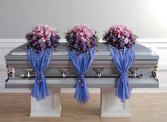 Casket Spray with Fabric Drape