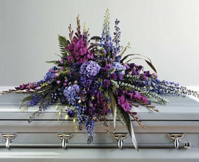 Purple Tone-on-Tone Casket Spray