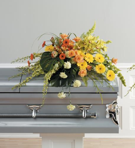 Sunshine Yellow Casket Spray