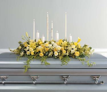 Yellow casket Spray with Rosary & Candles